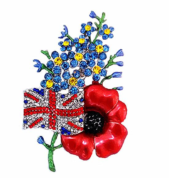 3.2 Inch Beautiful UK Flag Poppy Brooches and Pins With Red and Blue Crystal Rhinestone Fashion Jewelry