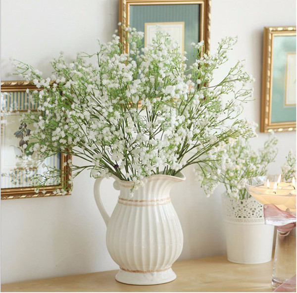 top popular Artificial Baby's Breath Fake Silk Flower Home Wedding Garden Decor babysbreath Vintage Artificial Flowers Gypsophila Festive 2021