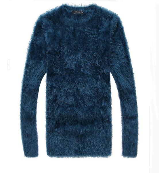 Atacado-Frete Grátis de Alta Qualidade Lazer New Arrival Rodada Collar Fur Engrossar Manga Longa Man Knitting Cotton Sweater