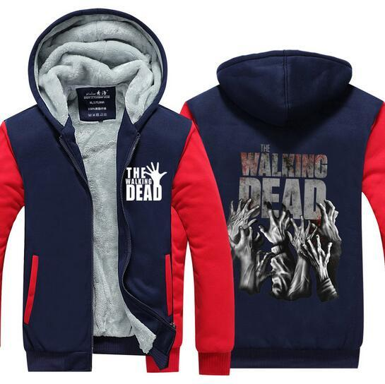 Winter Fashion the Walking Dead Fleece Zipper Jacket Coat Men Sweatshirt Cashmere Hoodie Men Tracksuit Streetwear Pullovers Tops