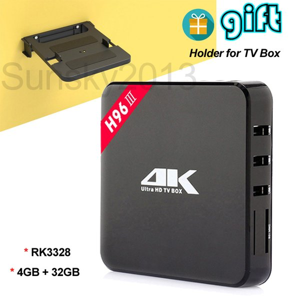 4GB 32GB Android 7.1 TV Box Rockchip RK3328 Quad Core Smart Mini PC H96-III with Holder for Set Top Box Bluetooth 2.4G Wifi 4K Media Player