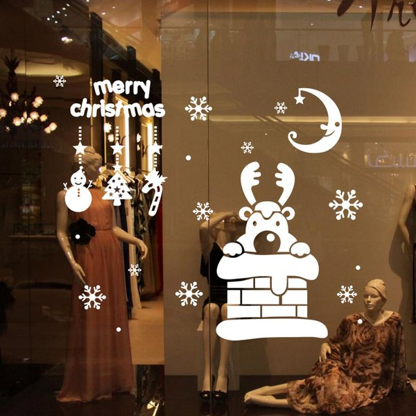 M-63 Happy New Year Merry Christmas deer Snowflake shop window Glass Stickers Party Decoration Wall Decals Gift Free Shipping