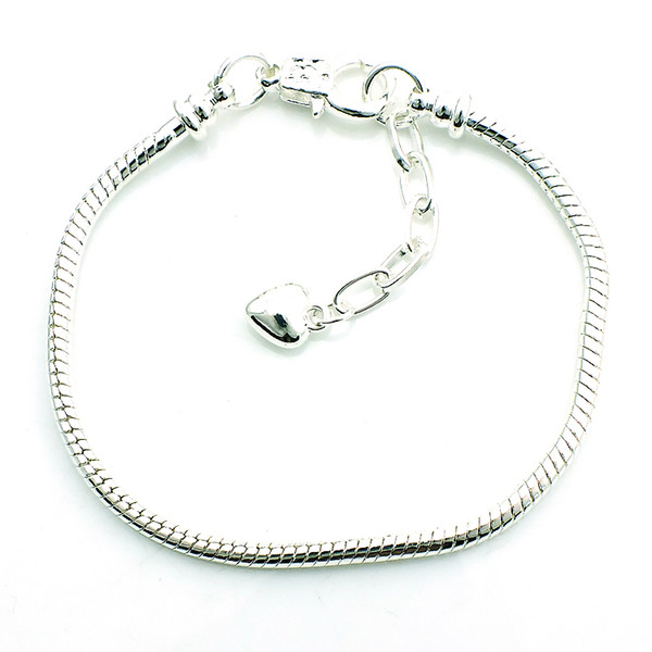 best selling Fashion Link Bracelets Europe Style Plating 925 Silver Infinity Heart Snake Chain DIY Bracelets & Bangles Accessories Jewelry