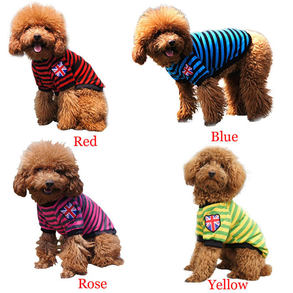 Summer Style New Cute Cat Dog Puppy T Shirt Clothes Stripe Cotton chihuahua dachshund Pet Clothes For Dogs,Pet Product L014