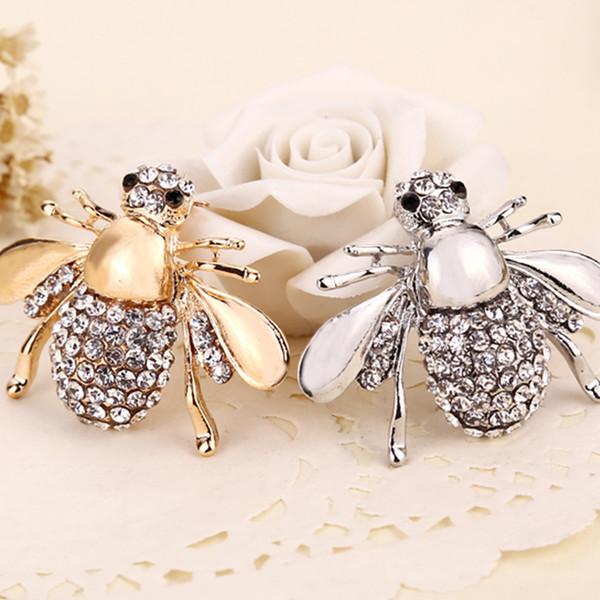 2018 новый высокий Quailty мода горный хрусталь животных брошь ювелирные изделия прекрасный сплав пчелы броши булавки аксессуары для женщин ZJ-0903265