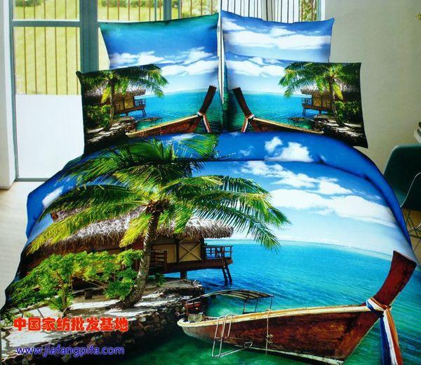 Großhandel 3d Palme Strand Bettwäschesätze Queen Size Bettdecke