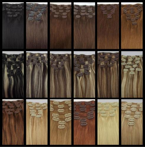 """5A 14""""- 26"""",8pcs Unprocessed Brazilian remy Hair straight clip-in hair remy human hair extensions, 12 colors for choose ,120g/set,"""