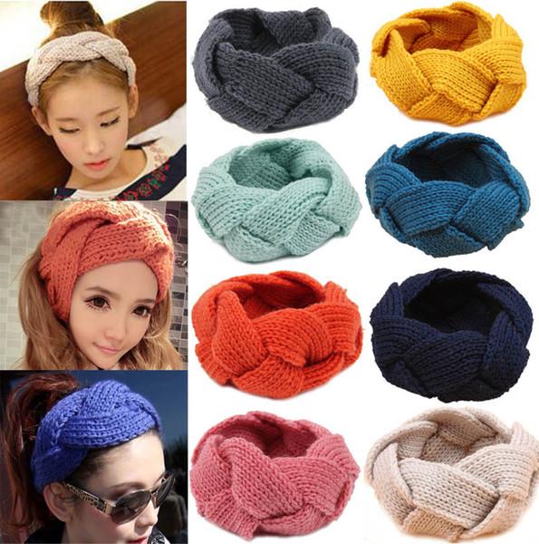 18 colori signore coreano lana treccia crochet fasce delle donne moda inverno warmer lavorato a maglia copricapo fascia dei capelli accessori per capelli ragazze 20 pz / lotto