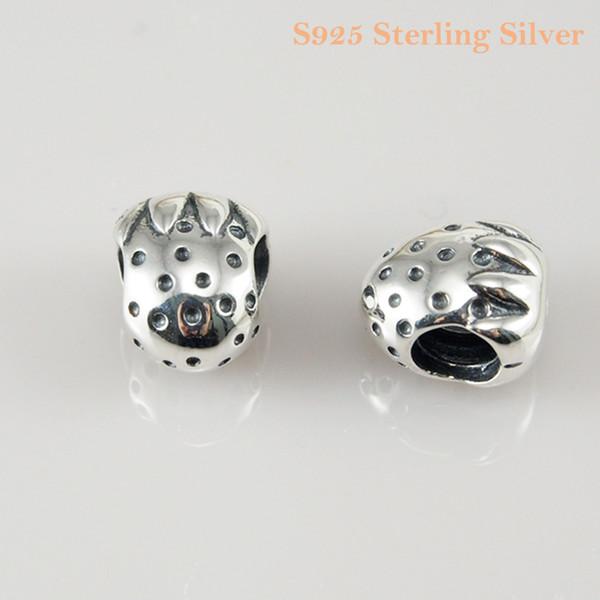 Strawberry charm bricolage perles argent massif 925 Real Solid non plaqué Convient Original Pandora Bracelets Bracelets Colliers