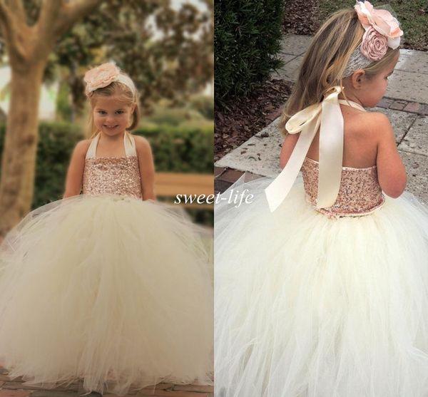 top popular Cute Ivory Flower Girl Dresses 2019 Bling Rose Gold Sequin Halter Tutu Floor Length Ball Gown Cheap Custom Made Little Girls Pageant Dresses 2021