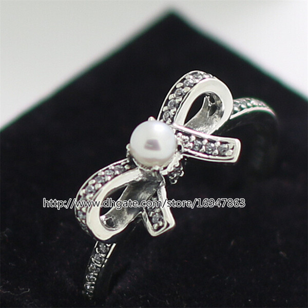 925 Sterling Silver Delicate Sentiments White Pearl Clear CZ Earrings Charm