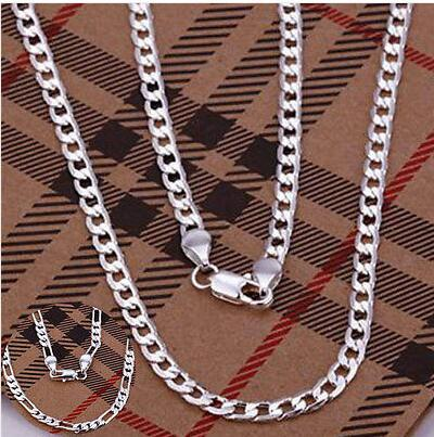 4MM Sterling Silver Plated Mens Sideways Necklace Chain New Gift 2style 16 18 20 22 24 26 inch 60pcs/