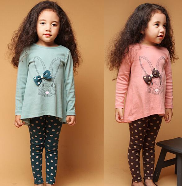 t-shirt pants kids suit kids clothing rabbit set baby girl long sleeve bow girl dress Long Sleeve polka dot leggings kids girls 2 piece set