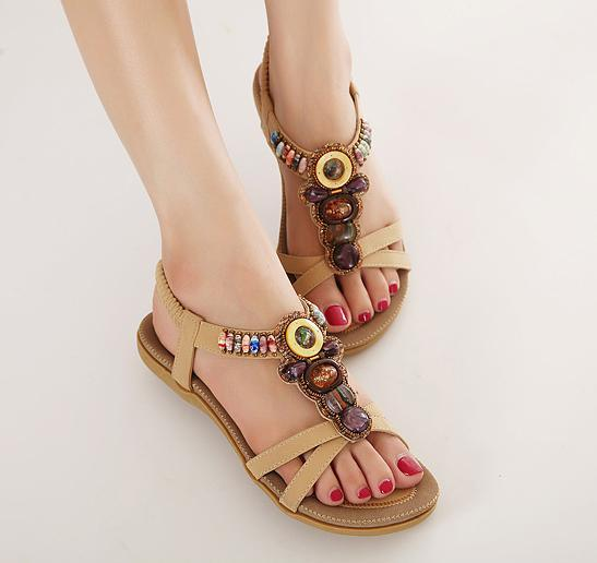 Plus Size Handmade Crystal Rhinestone T Strap Flat Sandals Bohemian Gladiator Sandals For Women Beige Black