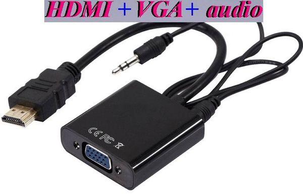 HDMI zu VGA mit 3,5 mm Jack Audio Kabel Video Konverter Adapter Für Xbox 360 PS3 PC Laptop DVD