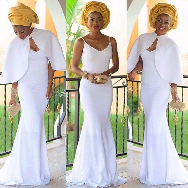 Detachable Cloak White Spaghetti V Neck Mermaid Sheath Sexy Elegant Simple Evening Dresses In Stock Prom Dresses