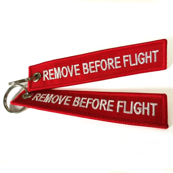 best selling Remove Before Flight Luggage Tag Label key Embroidered Nice Canvas Specile Keychains Luggage Tags red in opp bag