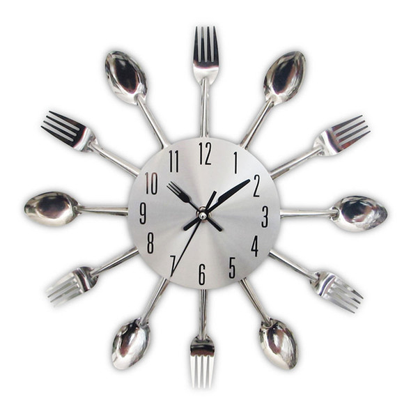 best selling New Fashion Modern Kitchen Wall Clock Sliver Cutlery Clocks Spoon Fork Creative Wall Stickers Mechanism Design Home Decorations