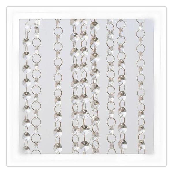 Fashion Crystal Curtains Wedding Beads Chain Transparent Crystal Octagonal Clear Acrylic Bead Garland Chains Wedding Chandelier Decoration