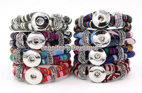 best selling Wholesale Free Shipping New Arrival 9 Colors Classic Chunks Snaps Jewelry Bracelet,Ethnic Style Cotton Rope DIY Snaps Jewelry
