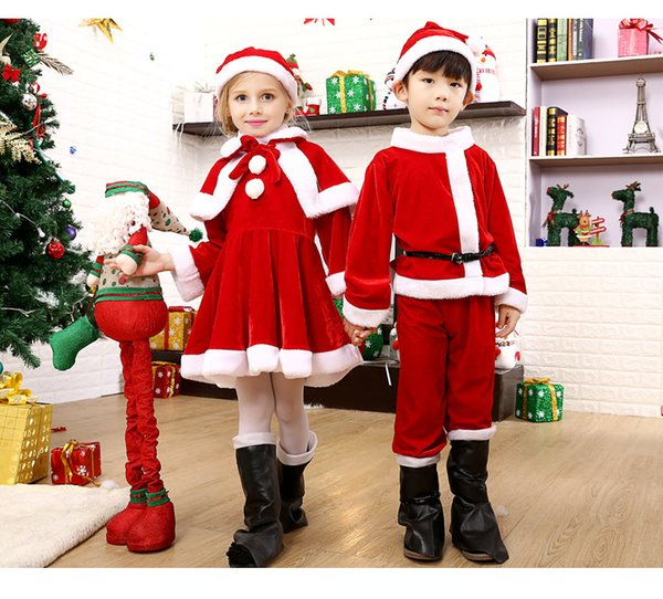 Can Custom Gold velvet Christmas costume children's Santa clothes boys girls clothing (without boots and backpacks)
