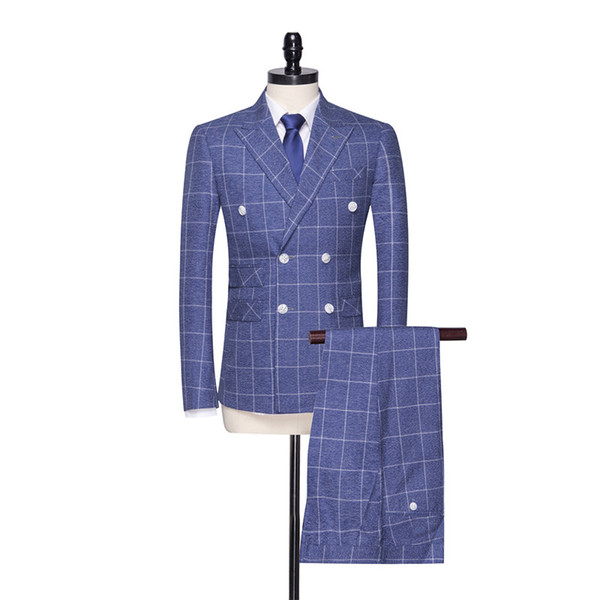 Fashion Blue Plaid Double Breasted Men's Groom Tuxedo and Men's Office Workwear Set 2 (Jacket + Pants)