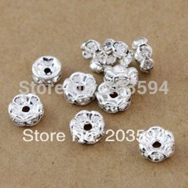 1000 adet Gümüş Kaplama çiçek Yan Kristal Rondelle Paspayı Boncuk 8mm