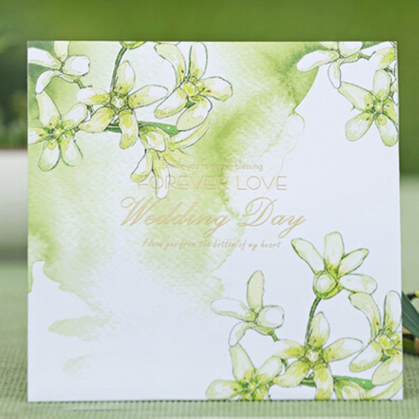 Green Wedding Invitation Card Floral Style Forever Love Big Day Invitations Personalized Marry Cards Square Style Free Printing Wedding Reception