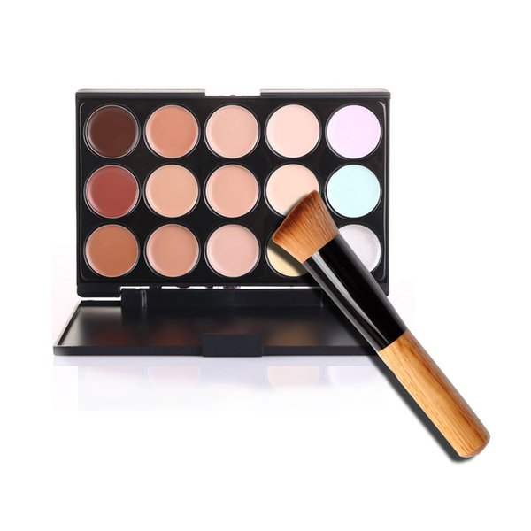 Cosmetic Salon/Party 15 Colors Camouflage Palette Face Cream Makeup Concealer Palette Make up Set Tools With Brush 500pcs DHL Free