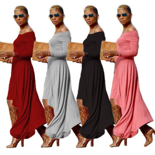 Hi-Low autumn winter Sexy Women Off Shoulder Loose Maxi Long dresses Party Cocktail Casual plus size fall Dress vestidos
