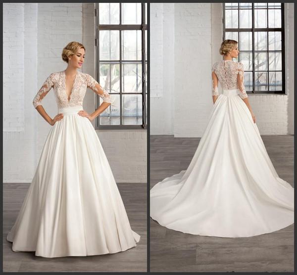 vestido novia escote v manga larga – vestidos de noche
