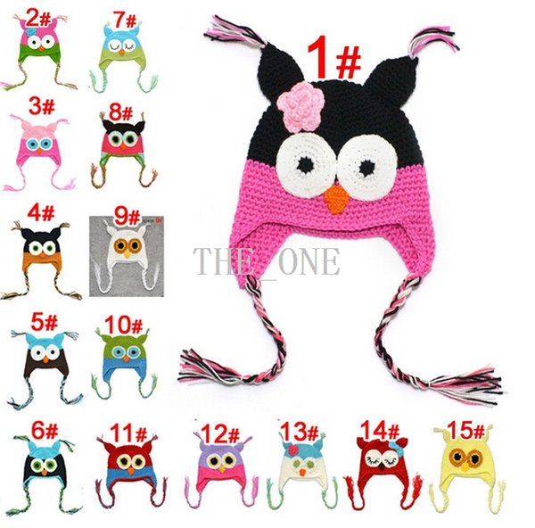 toddler owl hats multicolor infant toddler handmade knitted crochet baby hat cap with ear flaps baby baby crochet animal hat free shipping