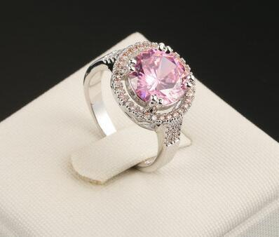 WOMENS PINK LAD DIAMOND ENGAGEMENT HALO RING EMERALD ROUND CUT WHITE GOLD FOLLED