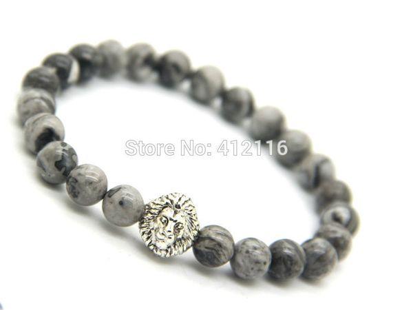 2015 New Design Jewelry Wholesale 10pcs/lot 8mm Grey Veined Picture Jasper Stone Lion Head Bracelets Mens Bracelets