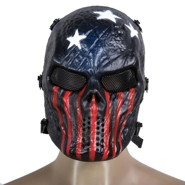 Airsoft Paintball Protección Facial Completa Máscara de Cráneo Juegos de Ejército Escudo de Escudo de Ojo de Malla de Metal al aire libre para CS Cosplay Party
