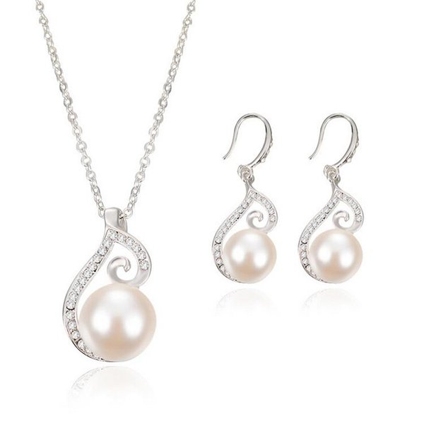 Silver Pearl Necklace Earrings Jewelry Sets For Women Fashion Party Jewlry Newest 2015 Bride Jewelry Sets CAL1084A