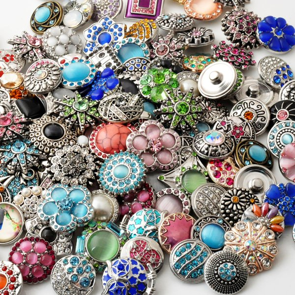 best selling D03464 Rivca Snaps Button Jewelry Hot wholesale 50pcs lot Mix styles 18mm Rhinestone Metal Snap Button Charm Fit Bracelets NOOSA chunk