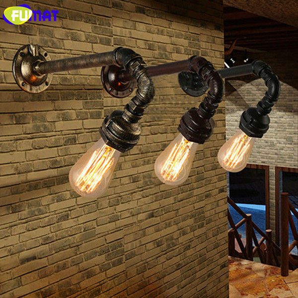FUMAT Water Pipe Wall Sconces Loft Vintage Wall Light Gallery Exhibition Hall Coffee Shop Iron Pipe Industrial Wall Lamps