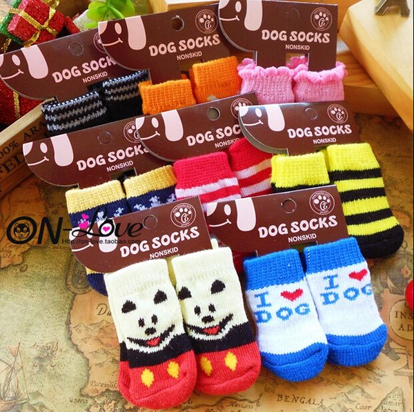 Pet Products Supplies Dog Socks Dog Boots Shoes Cute Warm Indoor Skid-resistant Anti-slip More Colors Free Shipping 4PCS/SET