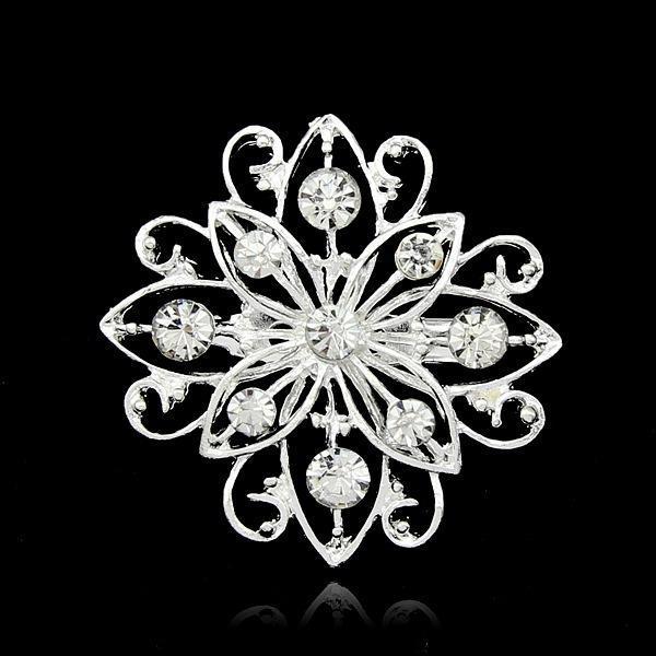 Broches Pour Femmes Mix Design Argent Planté Clair Strass Cristal Petite Taille Bouquet De Fleurs Broches De Mariage Broches