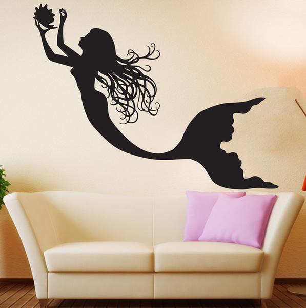 2016 Under The Sea Mermaid Girl Nursery Room Tatuajes de pared Arte Decoración Del hogar Pegatinas de Pared de Vinilo de Pared Cartel Mural