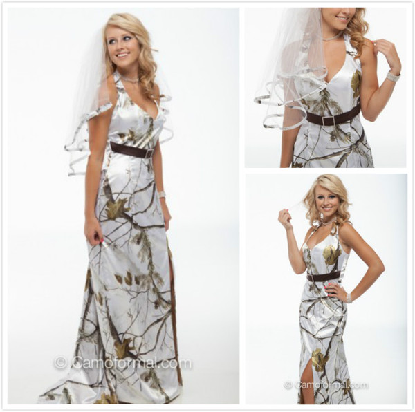best selling New Arrival White Snow Camo Wedding Dresses Halter Sheath Camouflage Bridal Dresses with Belt Realtree Wedding Party Gowns