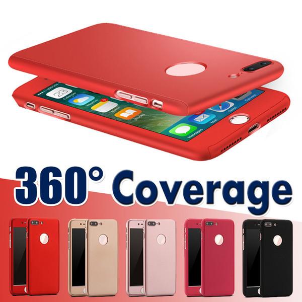 Cobertura de 360 grados para todo el cuerpo Protección delgada con cubierta de PC rígida a prueba de golpes de vidrio templado para iPhone XS Max XR X 8 7 6 6S Plus 5 5S