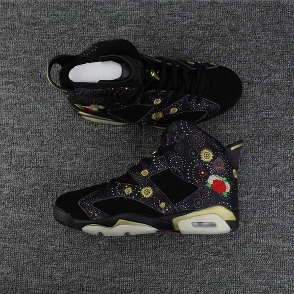 tornacipő legjobb cipő futócipő Wholesale With Box 6 VI Chinese New Year Black Flower 6s MEN ...