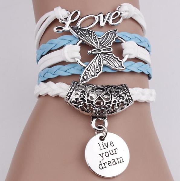 Старинные любовь бабочка Бесконечности Шарм браслеты жить вашей мечты женщины веревка письмо браслеты Wrap браслеты многослойные Плетеный браслет