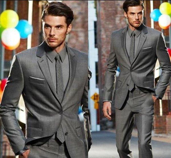 bel design nuovo stile di moda Nuovo arrivo su misura Grigio scuro classico smoking dello sposo Best Man Suit Moda da sposa (giacca + pantaloni)