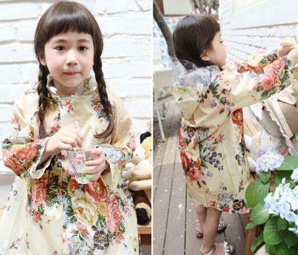 best selling children rainwear Kids Raincoat Flower Jacket Beach Children Poncho Girls Raincoats Waterproof Rainwear Dual Purpose Durable Rain Coat