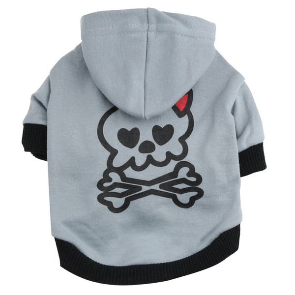 Christmas and Hallowee Gifts Dog Clothes Autumn Winter Coat Skull Cotton Hoodie T-Shirt for Dogs Dog Apparel with a Hood Sweatshirt Teddy