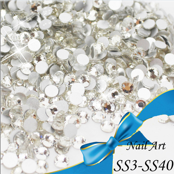top popular Wholesale-top quality SS3-SS40 CRYSTAL CLEAR crystal white glue on silver plated flatback crystal rhinestone for beauty 2019