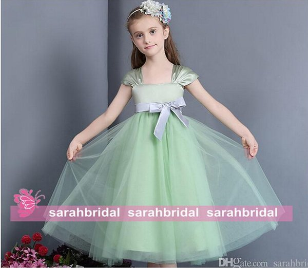 2015 Little Flower Girls' Dresses Tea Length Mint Green Tulle Empire Bow Bridal Party Gowns Cap Sleeves For Weddings Kids Formal Sale Cheap